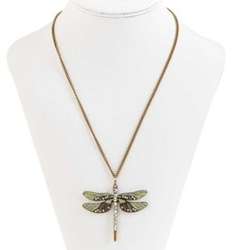 Burnished Gold/Enamel/Crystal Dragonfly Pendant w/Chain