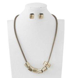 Antique Gold Mesh Chain Necklace Set