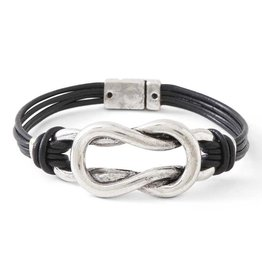 Black Leather 3 Strand & Antique Silver Magnetic Clasp Bracelet