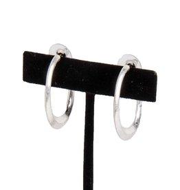 Worn Silver Open Hoop Earrings