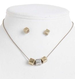 Antique Gold/Silver Floating Cube Necklace Set