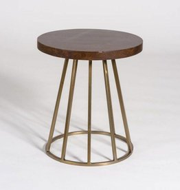 Braxton Accent Table in Dark Chestnut and Antique Brass