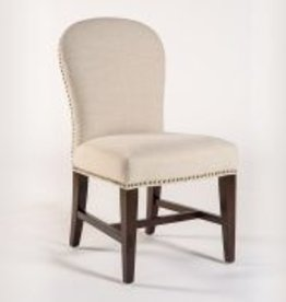Claremont Dining Chair in Cement Herringbone and Dark Walnut