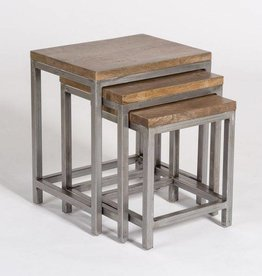 Gramercy Nesting Tables in Brindled Ash and Burnished Metal - Sold as a pair