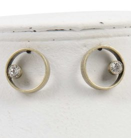 Worn Gold Circle with Crystal Accent Post Drop Earring