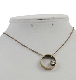 Burnished Worn Gold Circle Pendant with Crystal Accent Necklace
