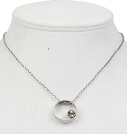 Burnished Worn Silver Circle Pendant with Crystal Accent Necklace