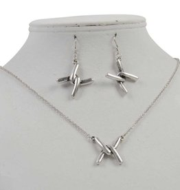"Antique Worn Silver ""X"" Necklace Set"