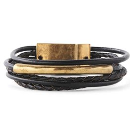 Antique Gold/5 Strand Black Leather Magnetic Bracelet