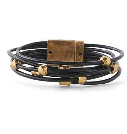 Antique Gold Nugget/ 6 Strand Black Leather Magnetic Bracelet