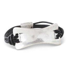 Antique Silver/4 Strand Black Leather Magnetic Bracelet