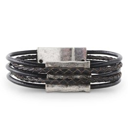 Antique Silver Tube/5 Strand Black Leather Magnetic Bracelet
