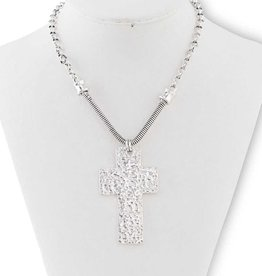 Textured Antique Silver Cross Pendant Necklace
