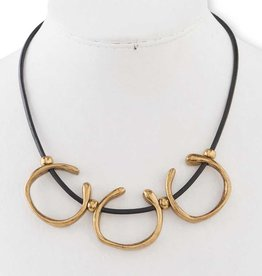 Antique Gold Triple Hoop on Black Leather Necklace