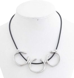 Antique Silver Triple Hoop on Black Leather Necklace