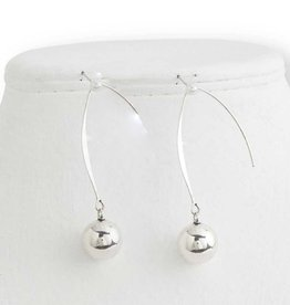 Silver Ball on Long Wire Earrings