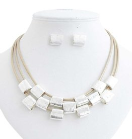 Hammered Worn Silver on Triple Matte Gold Leather Cord Necklace Set
