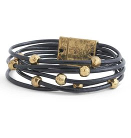 Black Leather & Gold Bead 6-Strand Leather Magnetic Bracelet