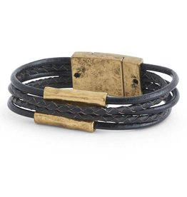 5 Strand Braided/Smooth Black Leather & Gold Tube Magnetic Bracelet