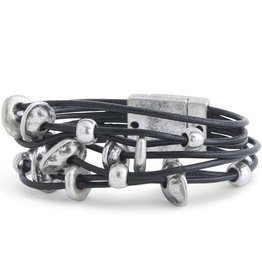 7 Strand Black Leather and Silver Discs & Beads Magnetic Bracelet
