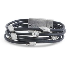 5 Strand Black Leather with Silver Tube & Crystal Magnetic Bracelet