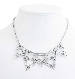 Antique Silver Triangle Bib Necklace