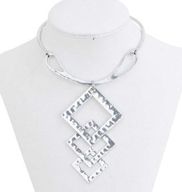 Hammered Antique Silver Geometric Bib Collar Necklace