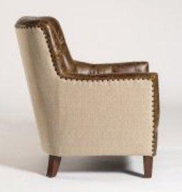 Hartford Occasional Chair in Vintage Cigar & Brindle Tweed with Dark Walnut