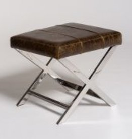 Hudson Cross Ottoman in Vintage Cigar and Polished Chrome