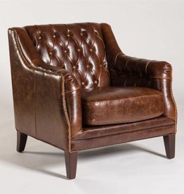 London Occasional Chair in Antique Saddle and Dark Walnut