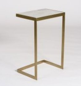 Laguna Accent Table in Siena Marble and Antique Brass