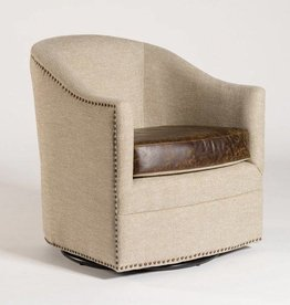 Madison Occasional Swivel in Khaki Herringbone & Vintage Cigar