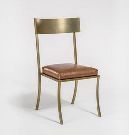 Marin Dining Chair in Tanned Umber and Antique Brass