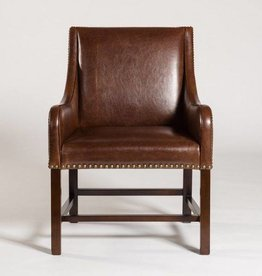 Manchester Occasional Chair in Antique Saddle and Dark Walnut