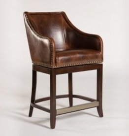 Manchester Swivel Bar Stool in Antique Saddle and Dark Walnut
