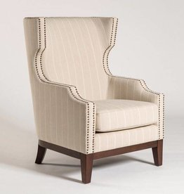 Marrakesh Occasional Chair in Revere Pewter and Dark Walnut