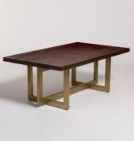 Manhattan Coffee Table in Dark Chestnut and Antique Brass