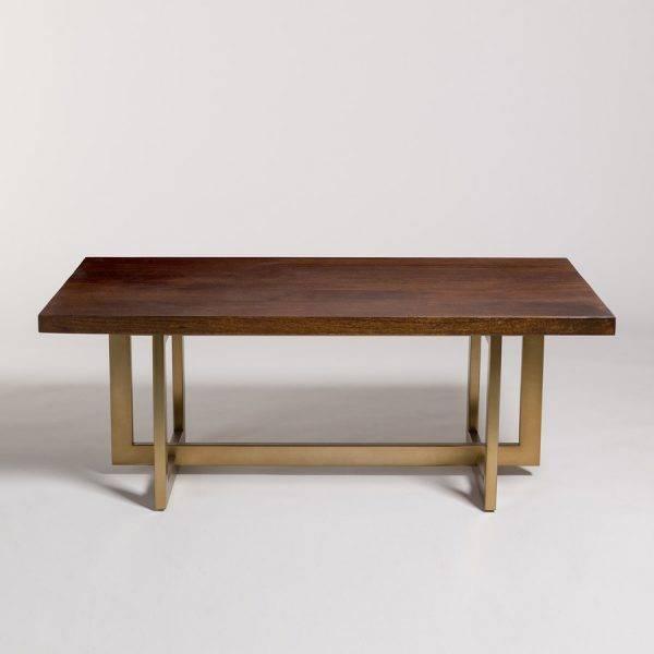 ... Manhattan Coffee Table In Dark Chestnut And Antique Brass