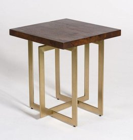 Manhattan End Table in Dark Chestnut and Antique Brass
