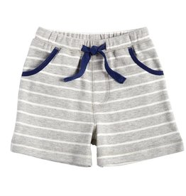 Striped Pull-On Shorts, Gray