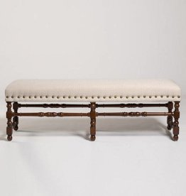 Monterey Bench in London Houndstooth and Rubbed Espresso
