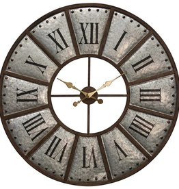 Large Galvanized Metal Wall Clock
