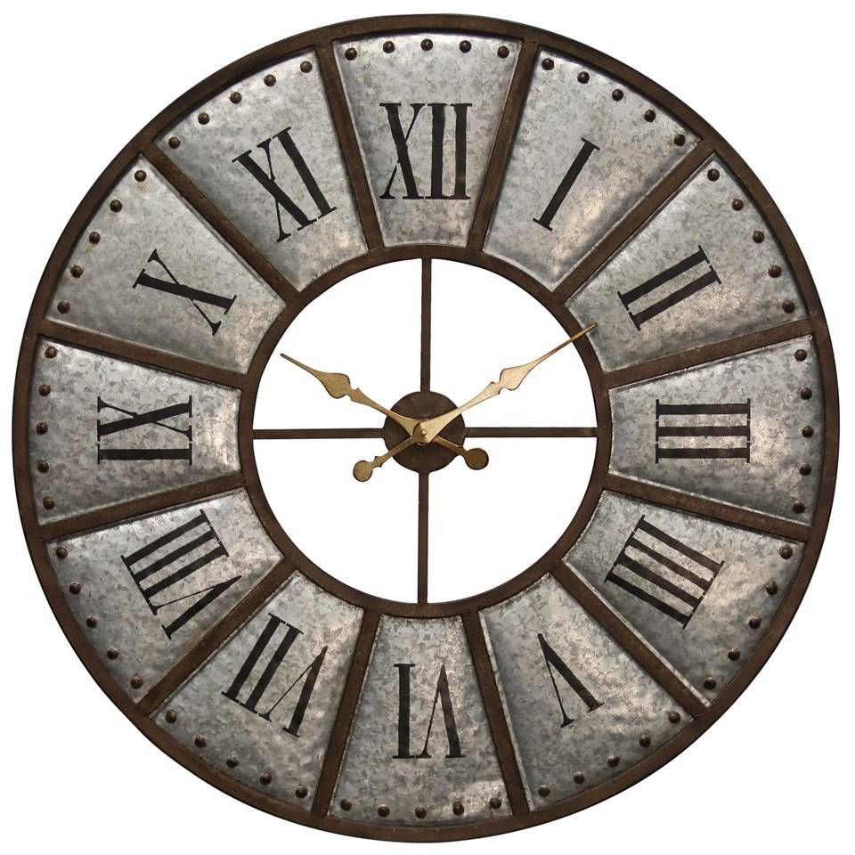 Galvanized metal wall clock beckmans large galvanized metal wall clock amipublicfo Images