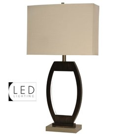 Ferndale Design Wood and Brushed Steel Table Lamp