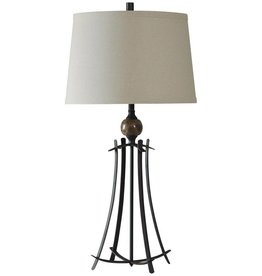Marble Orb with Forged Metal Lamp Fabric Shade
