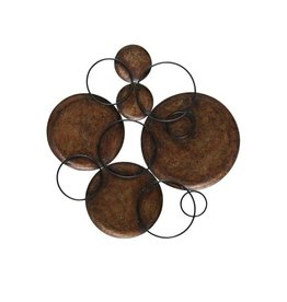 Hammered Copper Circles Connected by Black Metal Circles Wall Art