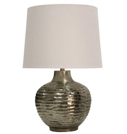 Wave Design Embossed in Aged Silver Metal Table Lamp