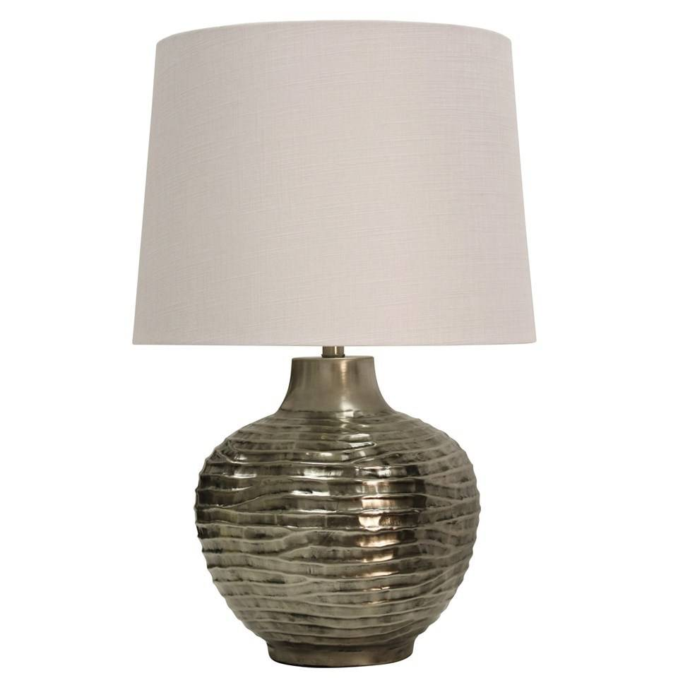 Aged silver wave table lamp beckmans wave design embossed in aged silver metal table lamp aloadofball Images