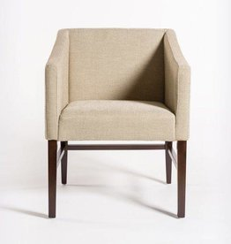 Preston Dining Chair in Khaki Herringbone & Dark Walnut