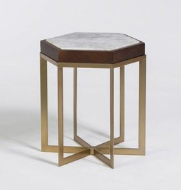Providence Accent Table in Cloud Marble & Antique Brass